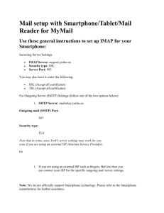 Mail setup with Smartphone/Tablet/Mail Reader for MyMail Use
