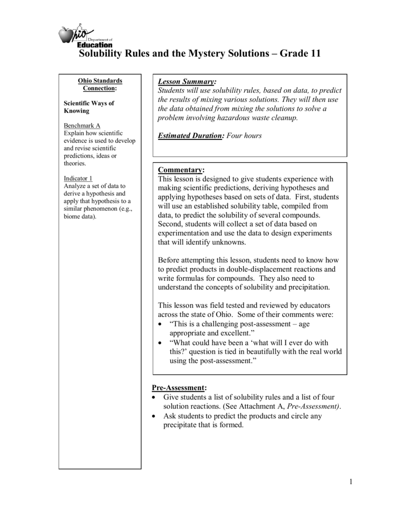Solubility Rules and the Mystery Solutions Grade 11 – Solubility Rules Worksheet
