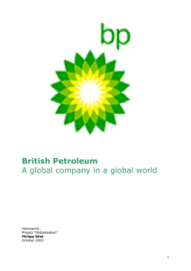 British Petroleum A global company in a global world