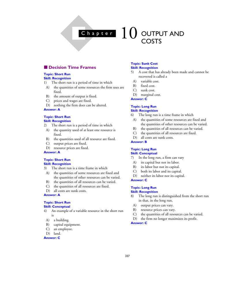 10OUTPUT AND COSTS