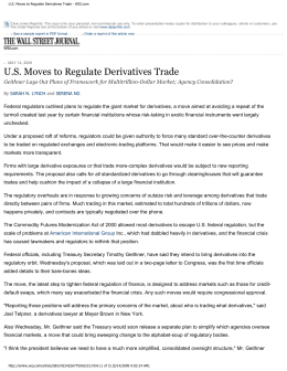 US Moves to Regulate Derivatives Trade - WSJ.com