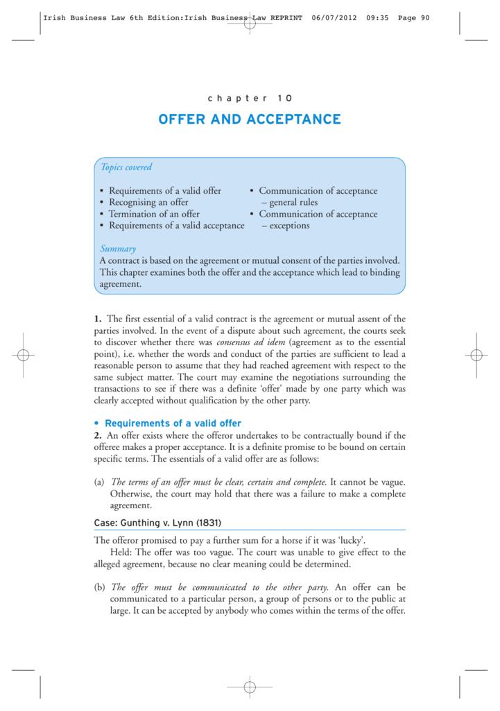 acceptance case law