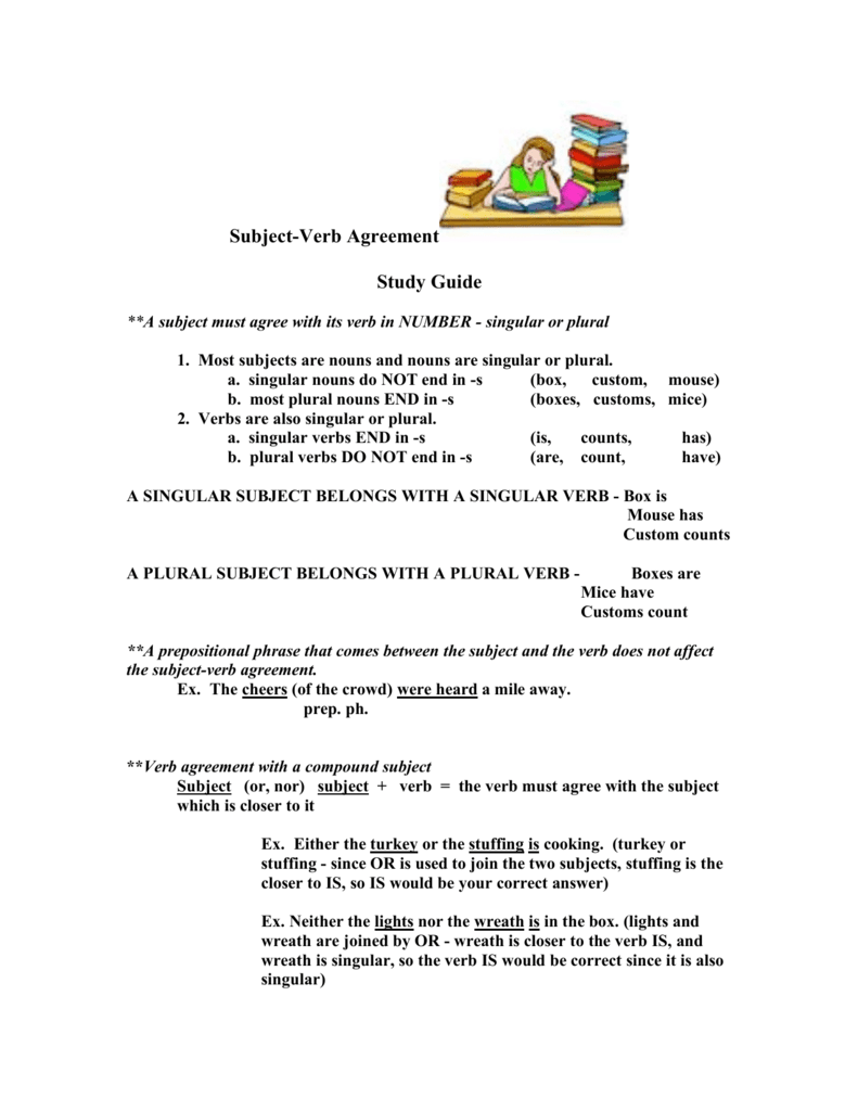 Subject Verb Agreement Study Guide