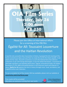 July 26-Egalite for All: Toussaint Louverture and the Haitian