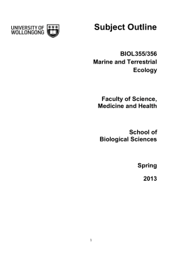 Subject Outline - Faculty of Health and Behavioural Sciences