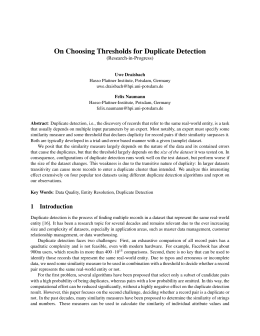 On Choosing Thresholds for Duplicate Detection - Hasso