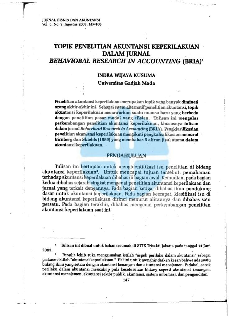 Topik Penelitian Akuntansi Keperilakuan Dalam Jurnal Behavioral
