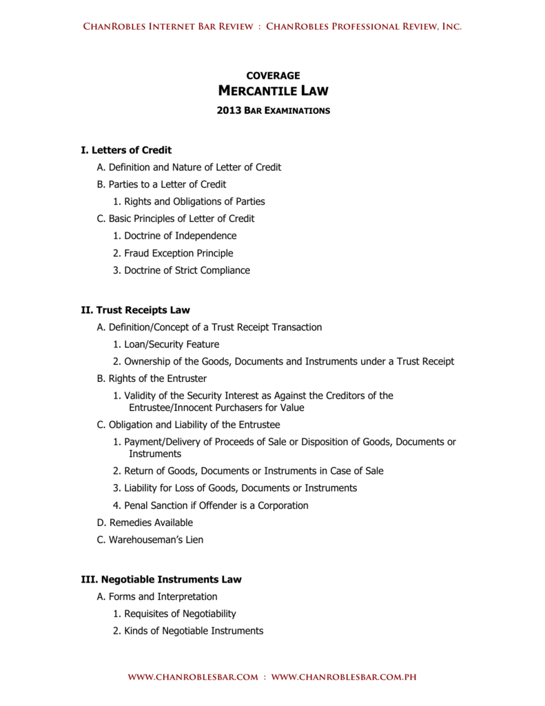Mercantile Law Chanrobles Internet Bar Review