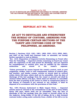 Customs Brokers Act RA7651 1993