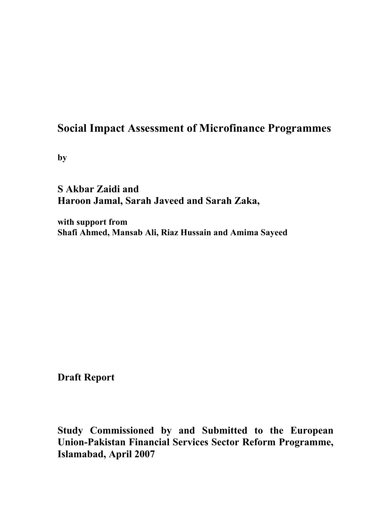 Social Impact Assessment of Microfinance Programmes