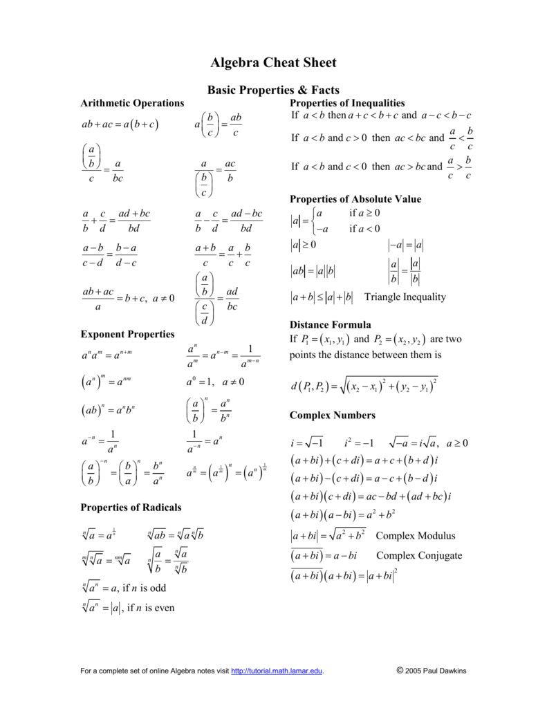 Algebra Cheat Sheet Pauls Online Math Notes Add for this magazine there is no download available. algebra cheat sheet pauls online math