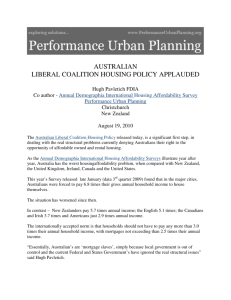 australian liberal coalition housing policy applauded