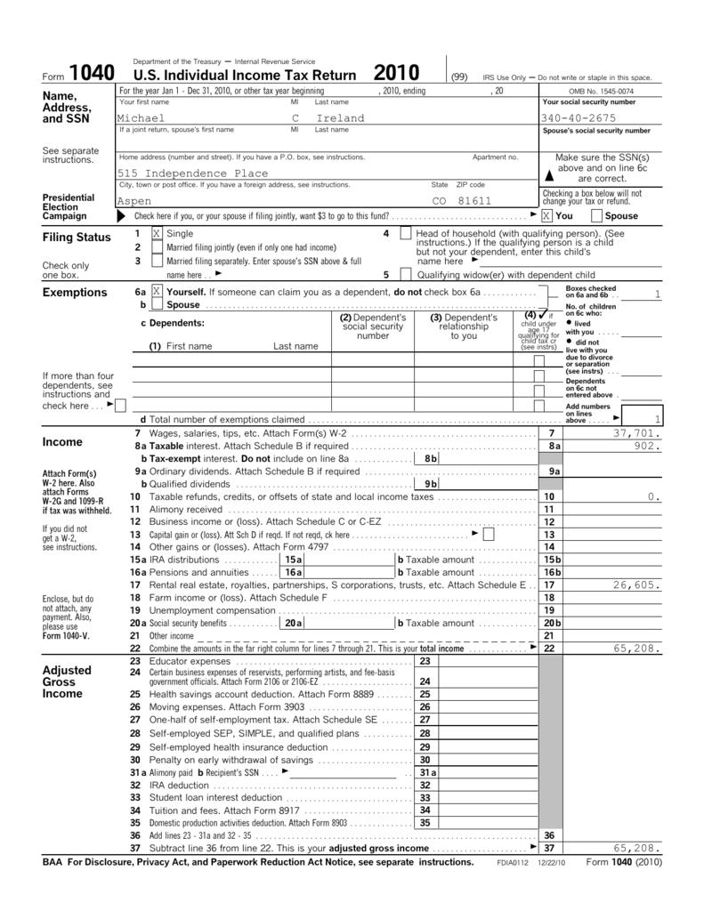 form 1040 us tax  Form 6 US Individual Income Tax Return 6
