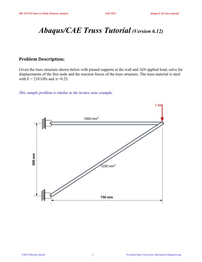 Abaqus/CAE Truss Tutorial(Version 6 12)