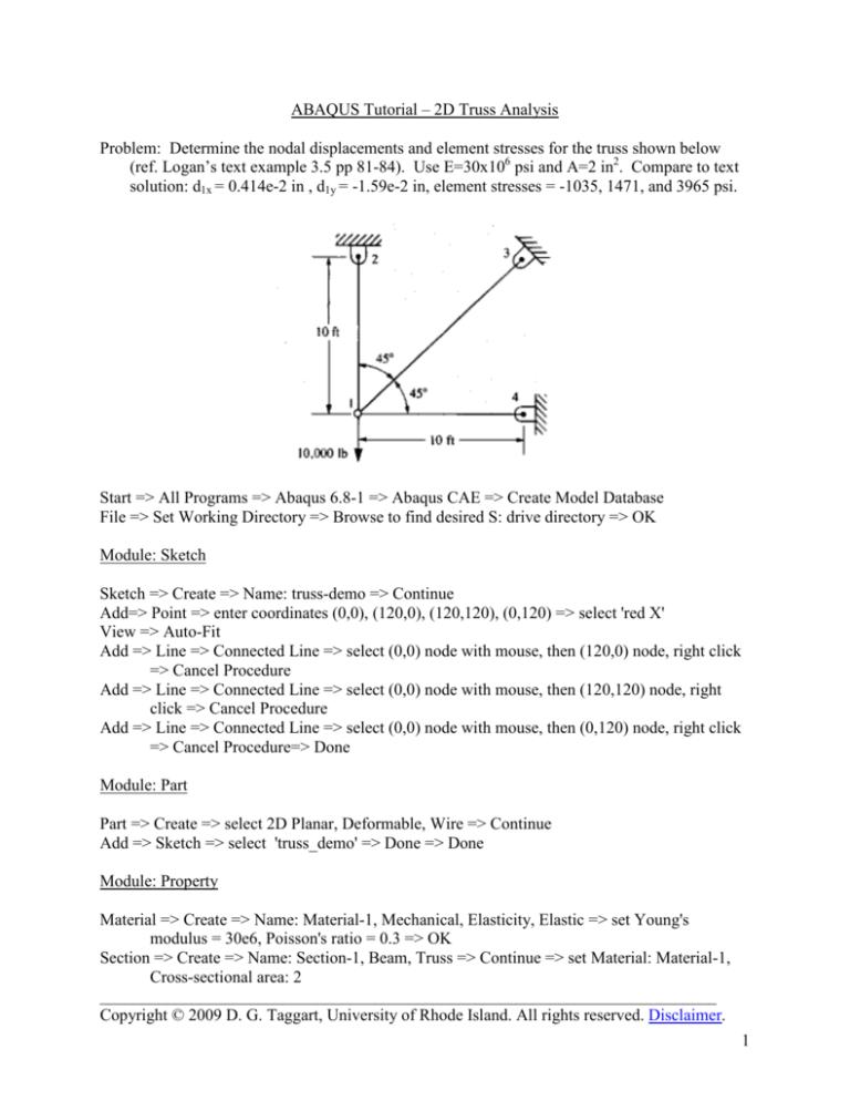 1 Abaqus Tutorial 2d Truss Analysis Problem Determine The