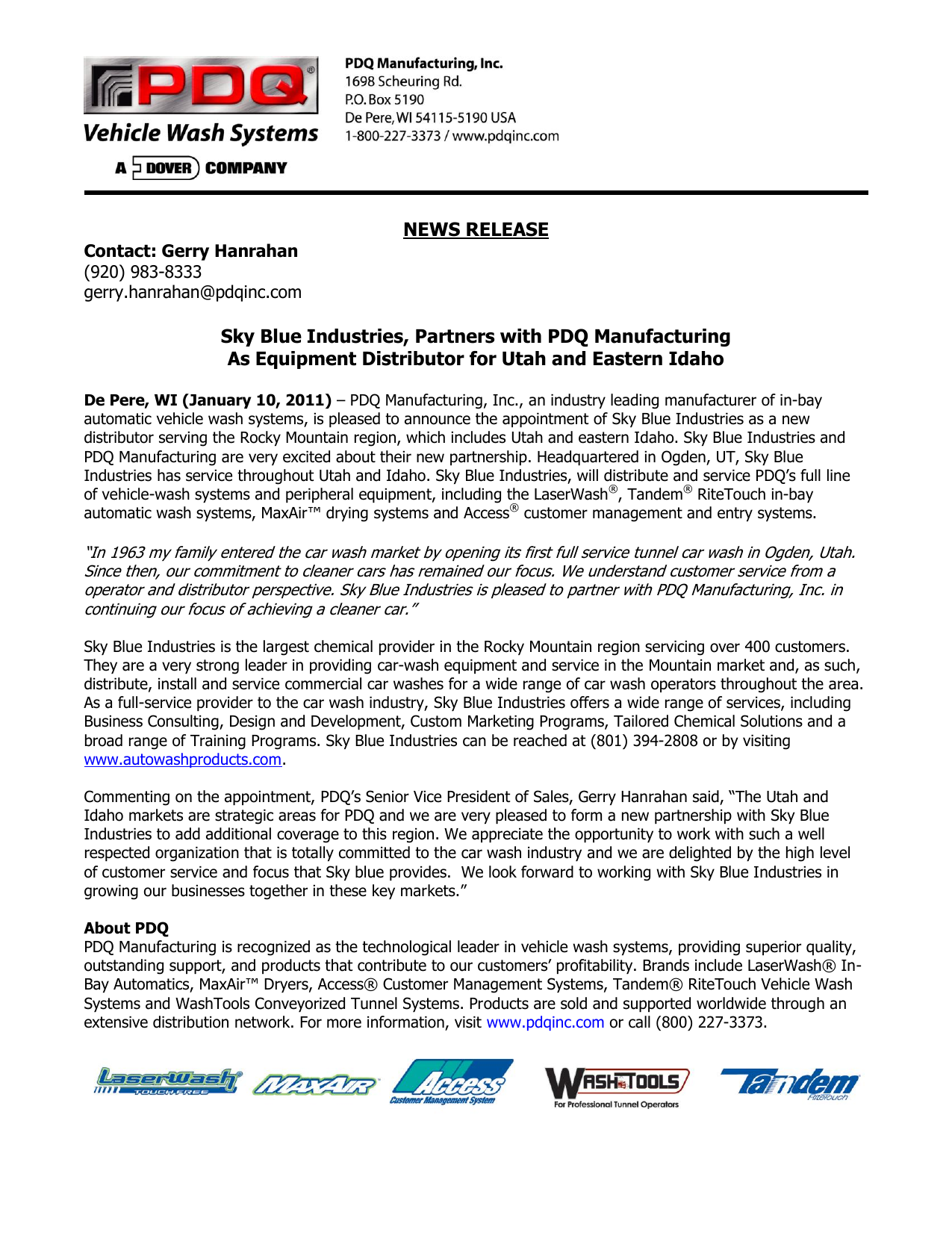 Sky Blue Industries, Partners with PDQ Manufacturing