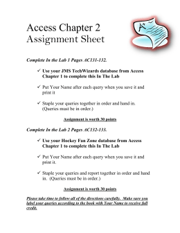 Access Chapter 2 Assignment Sheet