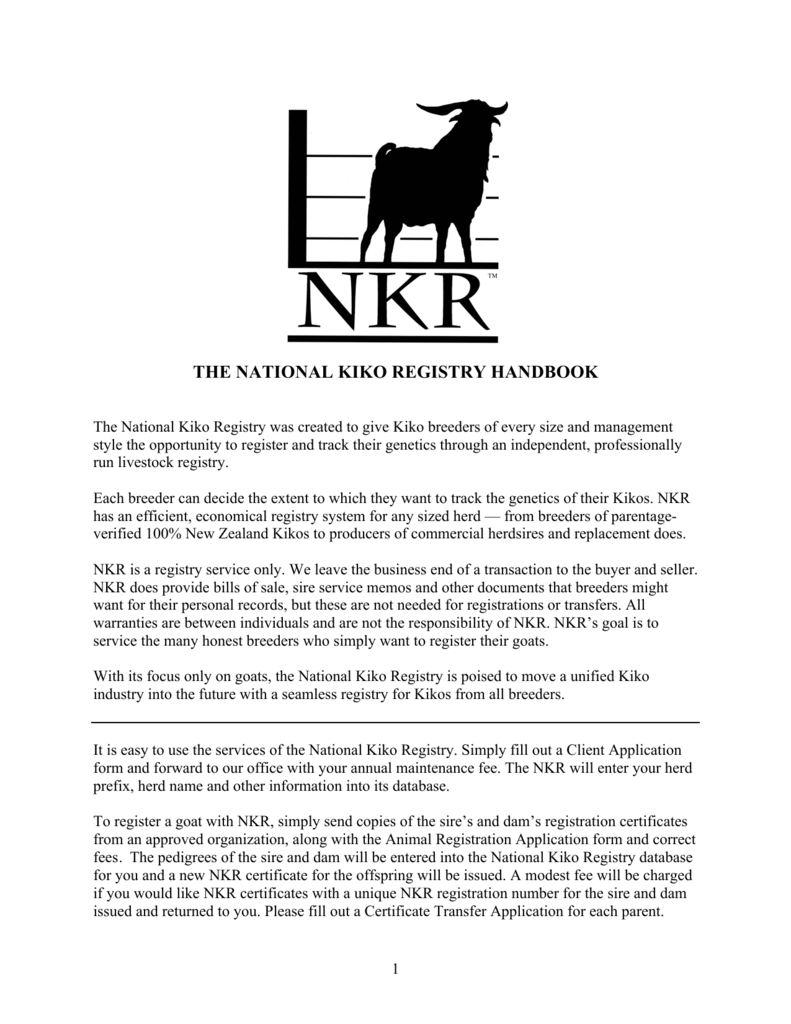 NKR Handbook 9-4-14 - National Kiko Registry