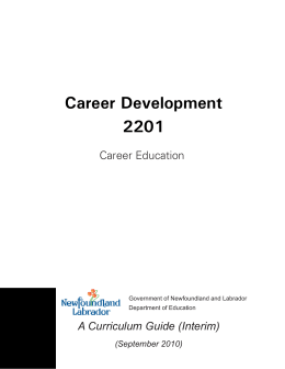 Career Development 2201 - Department of Education