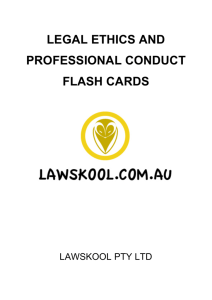 LEGAL ETHICS AND PROFESSIONAL CONDUCT FLASH CARDS