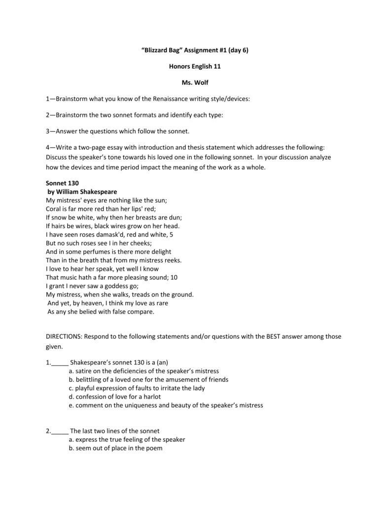 sonnet 130 tone