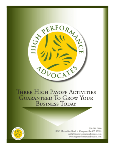 Three High Payoff Activities Guaranteed To Grow Your Business