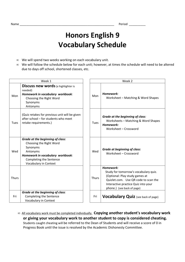 Honors English 9 Vocabulary Schedule