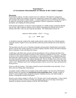 gravimetric determination of chloride as silver chloride