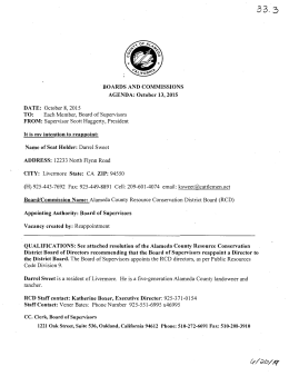 BOARDS AND COMMISSIONS AGENDA: October 13, 2015 DA TE