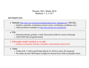 Physics 1051, Winter 2014 Sections 1, 2, 3, & 7 INFORMATION: o
