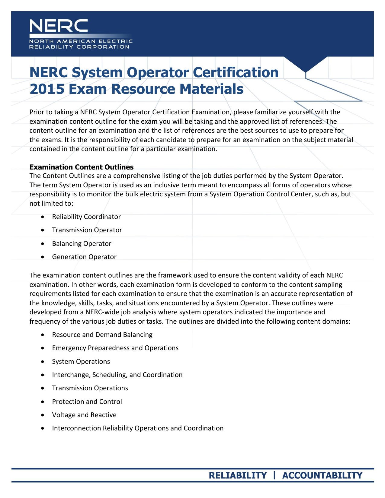 Nerc System Operator Certification 2015 Exam Resource Materials