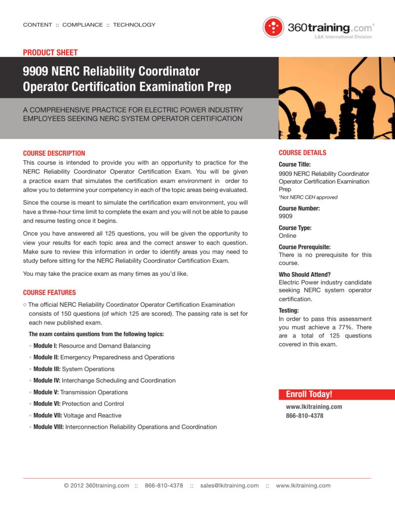 9909 Nerc Reliability Coordinator Operator