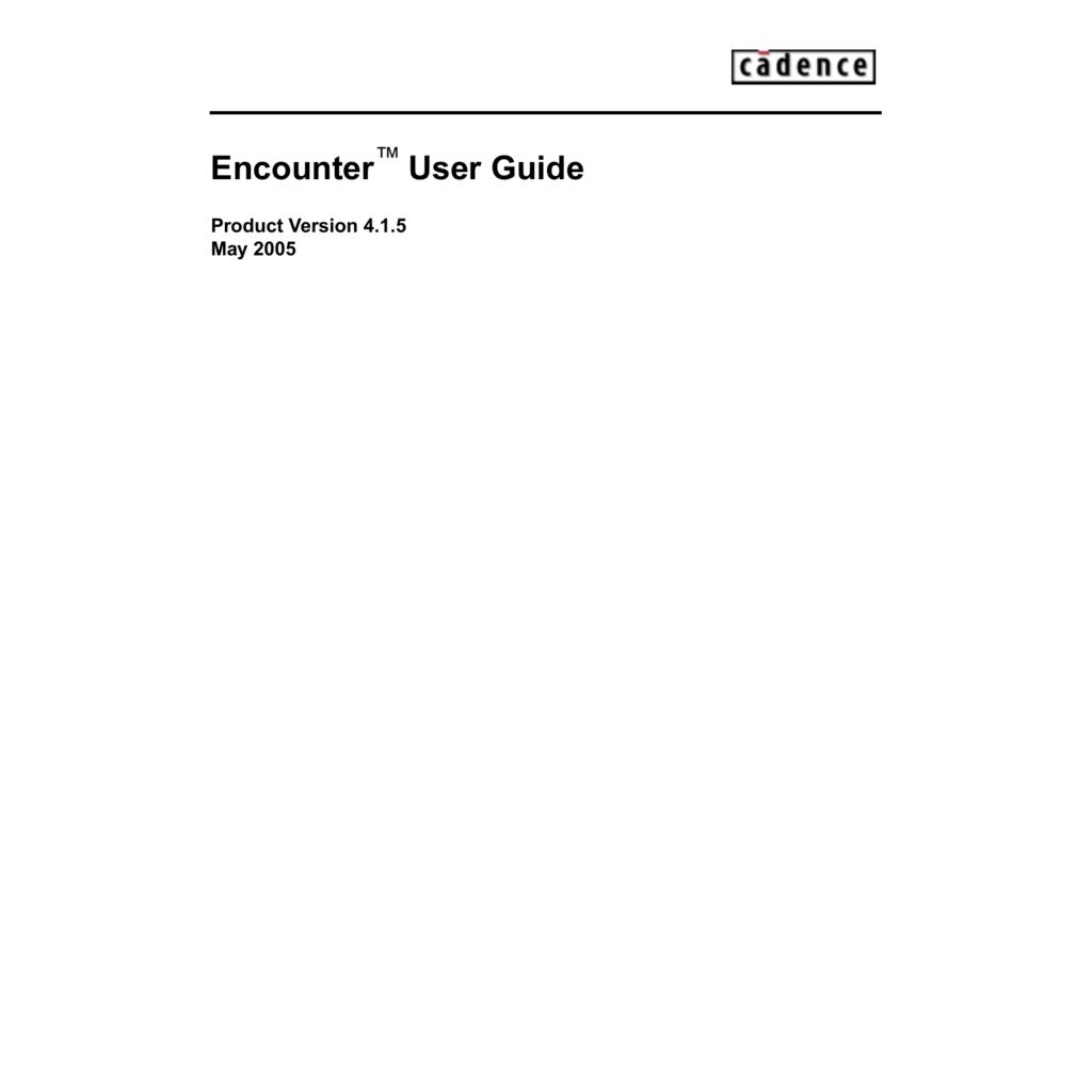 Encounter User manual Cadence
