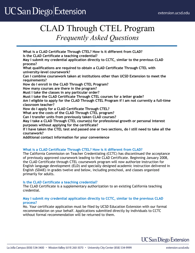 Clad Through Ctel Program