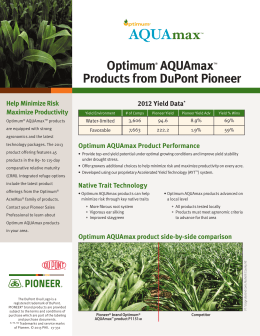 Pioneer® brand Optimum AQUAmax Product Offerings