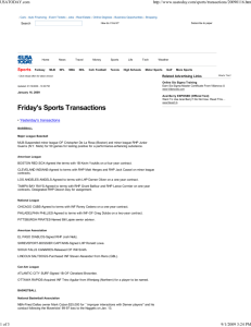 Friday's Sports Transactions