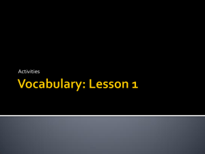 Vocabulary: Lesson 1