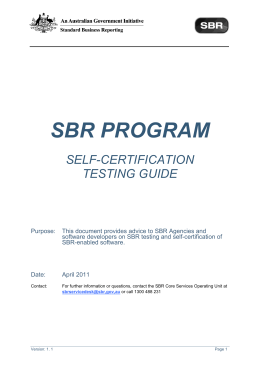 SBR PROGRAM - Standard Business Reporting