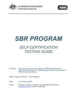 SBR Program Self-Certification Testing Guide