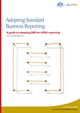 Adopting SBR for APRA reporting - Australian Prudential Regulation