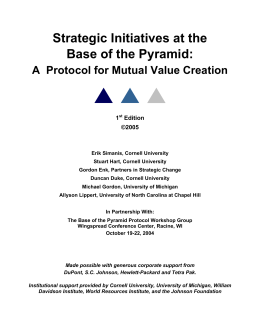 The Base of the Pyramid Protocol, 1st Edition