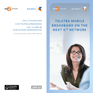 TelsTra Mobile broadband on The nexT G™ neTwork