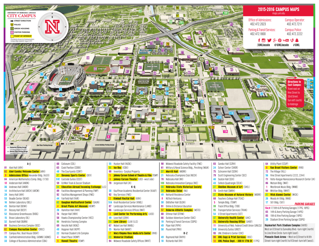 Campus Maps East Campus University Of Nebraska Lincoln