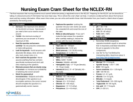 Nursing Exam Cram Sheet for the NCLEX-RN
