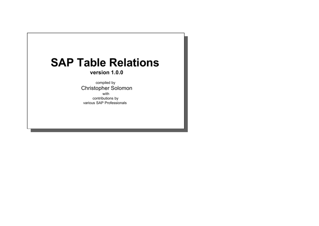 SAP Table Relations
