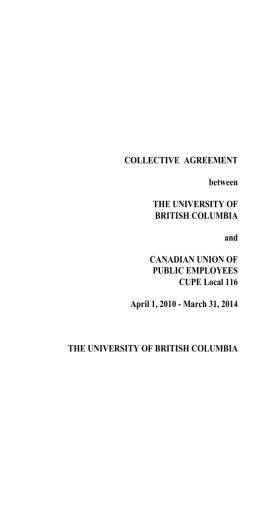 CUPE 116 Collective Agreement