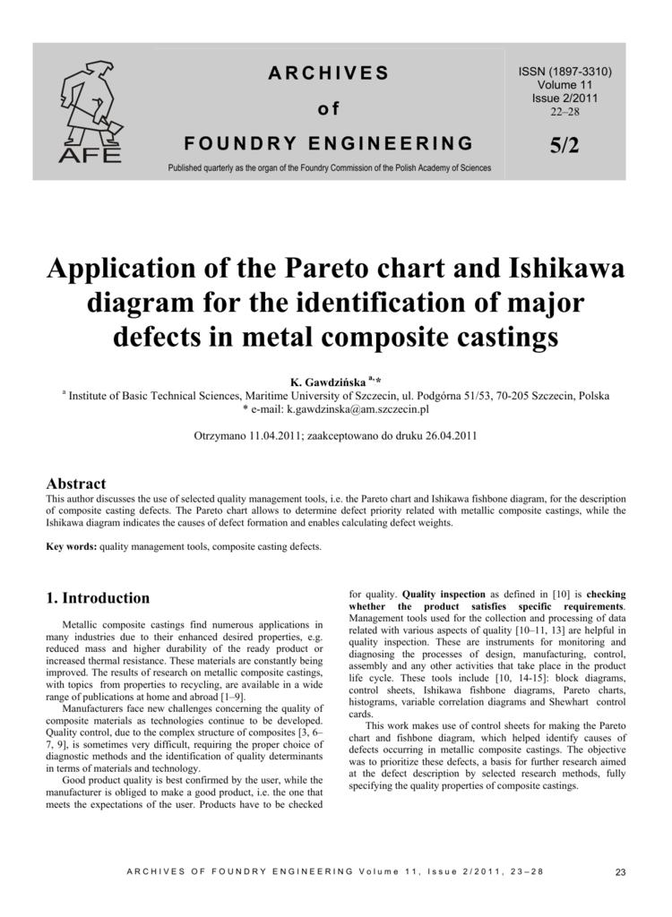 Application Of The Pareto Chart And Ishikawa