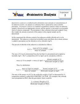 gravimetric analysis of chloride salt lab report