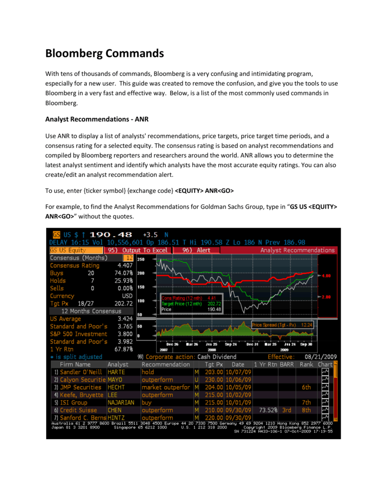 Bloomberg Commands Rotman Finance Lab