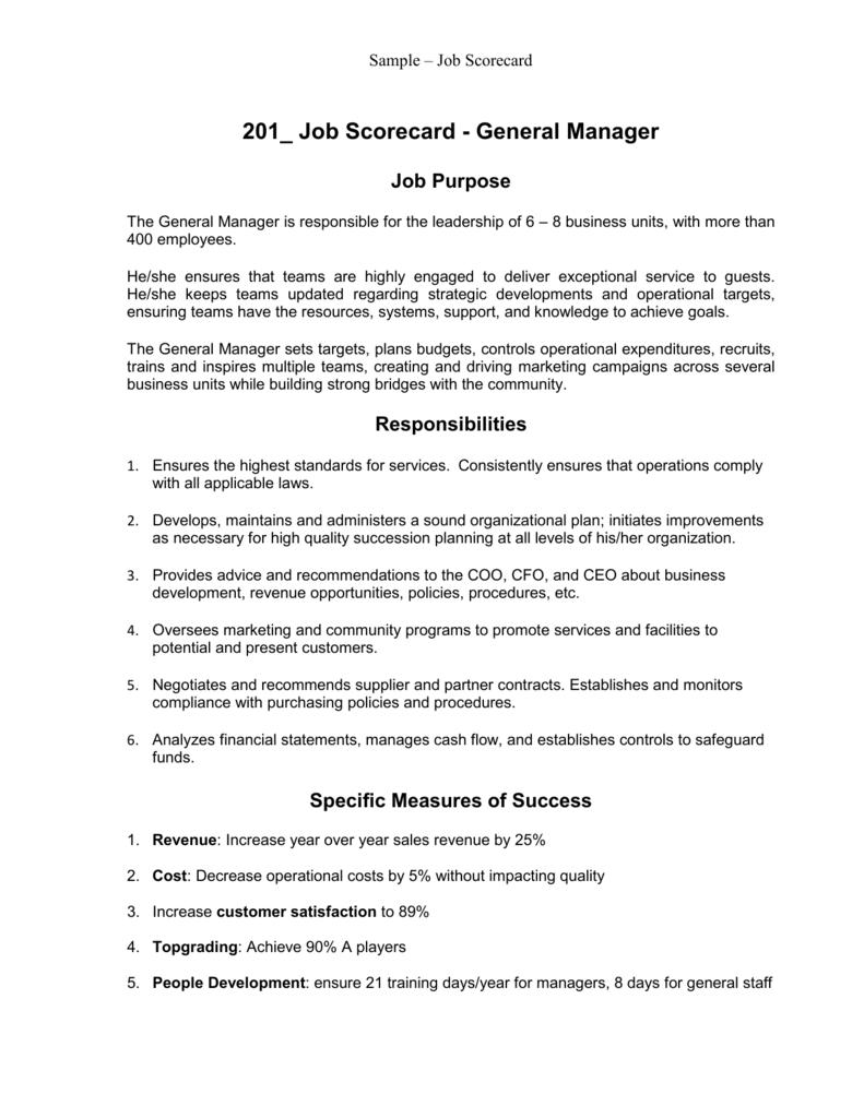Topgrading Sample Job Scorecard -Sample 1
